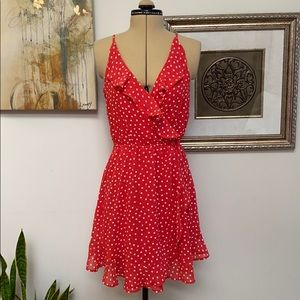 NWT Divided red dress with white polka dots